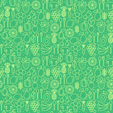 Vector seamless pattern with icons of healthy eco fruits Stock Photos