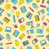 Vector seamless pattern with icons set of stationery Stock Photography