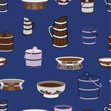 Vector seamless pattern illustrating mongolian traditional kitchenware. vector illustration