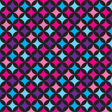 Vector seamless pattern illustration with blue and pink elements on black background. Royalty Free Stock Image
