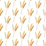 Vector seamless pattern illustration ears of wheat. Beer, oktoberfest, background. For bakery package, bread products. Autumn. Harvest. wheat, rye or barley stock illustration