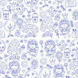 Vector seamless pattern Illustration of magic forest with Fairies Doodle pattern Royalty Free Stock Photography
