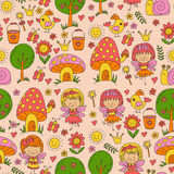 Vector seamless pattern Illustration of magic forest with Fairies Doodle pattern Stock Photo