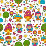Vector seamless pattern Illustration of magic forest with Fairies Doodle pattern Stock Images