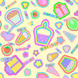Vector seamless pattern with the image of a cake, ice cream, strawberries, tea cups, caps, balloons, flowers, stars and hearts. Stock Photo