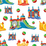 Vector seamless pattern of inflatable castles and children hills Royalty Free Stock Image