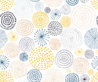 Vector seamless pattern with ink circle textures. Abstract seamless background. With colorful fireworks stock illustration