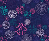 Vector seamless pattern with ink circle textures. Abstract seamless background with colorful fireworks. royalty free illustration