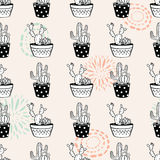 Vector seamless pattern with ink circle textures, cactuses and succulents in pots Royalty Free Stock Photos