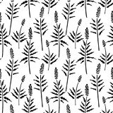 Vector seamless pattern of ink drawing wild plants, herbs, monochrome botanical illustration, floral elements, hand. Vector seamless pattern of ink drawing wild stock illustration