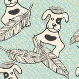 Vector seamless pattern with inscriptions, painted feathers and a dogs Stock Photos