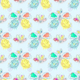 Vector seamless pattern with insect Hand drawn outline decorative endless background with cute drawn butterfly, flowers Graphic il Stock Photography