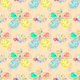 Vector seamless pattern with insect Hand drawn outline decorative endless background with cute drawn butterfly, flowers Graphic il Royalty Free Stock Photography