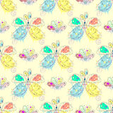 Vector seamless pattern with insect Hand drawn outline decorative endless background with cute drawn butterfly, flowers Graphic il Royalty Free Stock Images