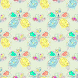 Vector seamless pattern with insect Hand drawn outline decorative endless background with cute drawn butterfly, flowers Graphic il Stock Photo