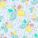 Vector seamless pattern with insect Hand drawn outline decorative endless background with cute drawn butterfly Graphic illustratio Royalty Free Stock Photo