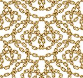 Vector seamless pattern of interwoven golden chains. Realistic illustration isolated over white background Stock Photography