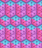 Vector seamless pattern. Isometric cubes and rectangular parallelepiped made of hexagon particles. Stock Image