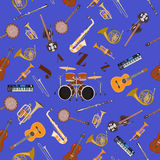 Vector seamless pattern with jazz music instruments. Stock Image