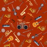 Vector seamless pattern with jazz music instruments. Royalty Free Stock Photography