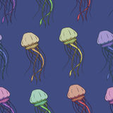 Vector seamless pattern with jellyfish Royalty Free Stock Photos