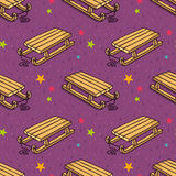 Vector seamless pattern with kid's wooden sleigh Stock Images