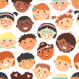 Vector seamless pattern of kids faces different races Royalty Free Stock Image