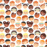 Vector seamless pattern of kids faces different races. Stock Photography