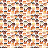 Vector seamless pattern of kids faces different races. Royalty Free Stock Photography