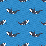 Vector seamless pattern with killer whales or orcas in the sea. Blue background with wavy lines Royalty Free Stock Image