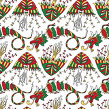 Vector seamless pattern with kites and festive chinese dragons. Stock Photo