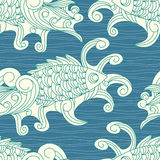 Vector seamless pattern with koi carp fishes Stock Photo