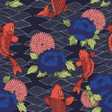 Vector seamless pattern with koi carp and flowers on a dark background. Hand drawing for design Royalty Free Stock Image