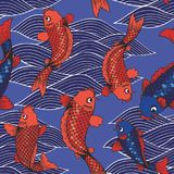 Vector seamless pattern with koi carps and waves on a blue background. Hand drawing Stock Photos