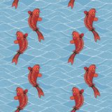 Vector seamless pattern with koi carps and waves on a blue background. Hand drawing in Japanese style Stock Photos