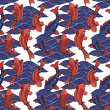 Vector seamless pattern with koi carps and waves. Hand drawing Royalty Free Stock Photo