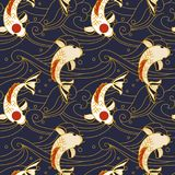 Vector seamless pattern with koi fish and waves in japanese style. Hand drawn vector backdrop in oriental style. Decorative fish in pond Stock Photos