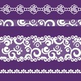 Seamless pattern lacy ribbon, white and purple color Stock Image