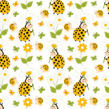 Vector Seamless Pattern with Ladybug, Snail and Butterfly. Insects Vector Royalty Free Stock Photo