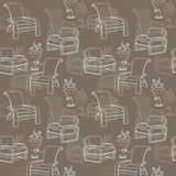 Vector seamless pattern with  lamp and chair on taupe background Stock Images