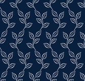 Vector seamless pattern with leaf. Blue and white background. Pattern seamless  illustration. Concept background picture Royalty Free Stock Photo