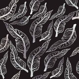 Vector seamless pattern with leaves. Royalty Free Stock Photo