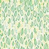 Vector seamless pattern with leaves, branches and dots. Vector seamless pattern with hand drawn leaves, branches. Easy to apply to your artwork. Good for royalty free illustration
