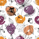 Vector seamless pattern with leaves and modern brush spot. Hand drawn engraved art. Oak, mapple, chestnut, acorns. Royalty Free Stock Images
