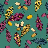 Vector seamless pattern with leaves of oak Stock Photo