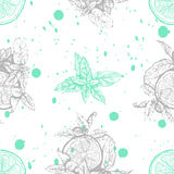 Vector seamless pattern with lemon and mint stock photo