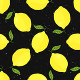 Vector seamless pattern with lemons on black background Stock Photos