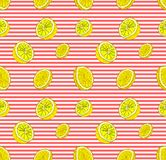 Vector Seamless Pattern with Lemons, Colorful Background Template, Striped Backdrop and Lemon Slices. stock illustration