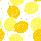 Vector seamless pattern with lemons and seeds.. Yellow fruit on a white background royalty free illustration