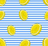 Vector Seamless Pattern: Lemons, Stiped Blue and White Background and Bright Yellow Citrus. Vector Seamless Pattern: Lemons, Stiped Blue and White Background stock illustration